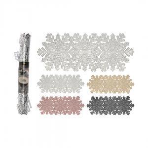 Салфетка Снежинка, золотой/медный/серебряный/черный, 90*32 см